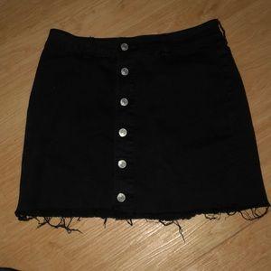 black button down jean skirt